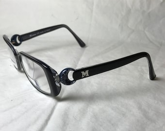 Missoni Black Plastic Eyeglasses with Silver M Temple Accent