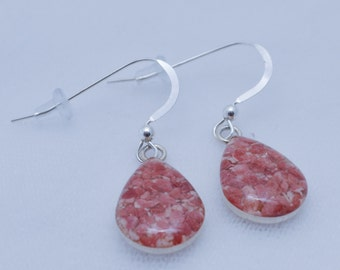 Bermuda Pink Sand Tear Drop Earrings in Sterling Silver