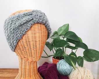 Crochet Turban Headwrap in Light Heather Grey