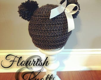 ALL SIZES Crochet double pom hat, crochet double pom beanie, crochet pom pom hat, Made to order