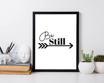 Be Still Print, Simple Wall Art, Digital Download, Motivational Wall Decor, Printable Art, Daily Affirmation Print
