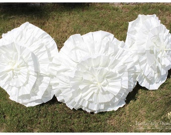 Set of 5 pc Wedding Parasol Bridal Umbrellas for Kids with Multi Layers of Gorgeous Fabric in Ivory