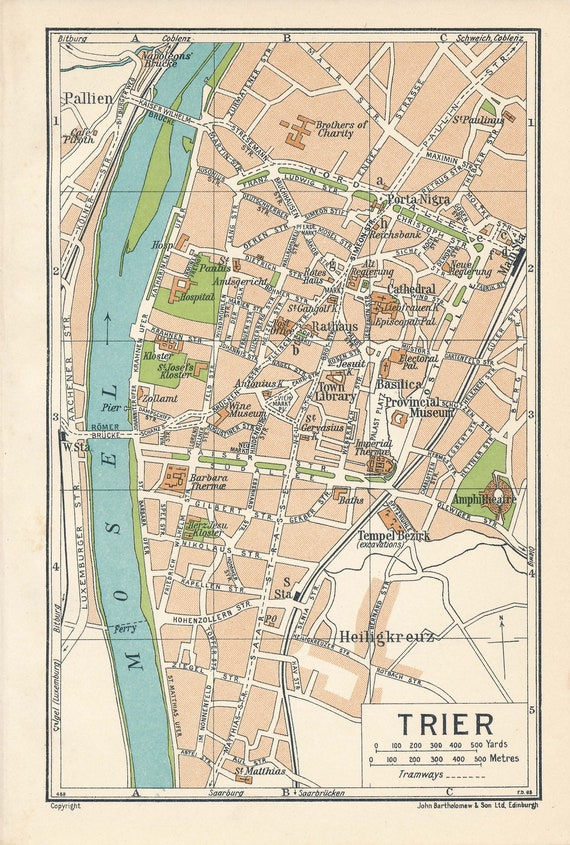 1933 Trier Germany Antique Map
