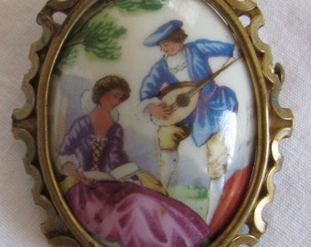 """Antique Made in France Porcelaine Limoges Man Courting Woman Brooch, Trombone Clasp, Large 2"""", Victorian Era, Turn of the Century"""