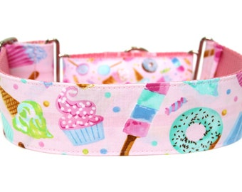 "Candy Dog Collar 2"" wide Martingale Dog Collar for Large Breed Dogs Pastel Dog Collar Treats Dog Collar"