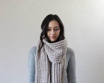 Le Mans - LINEN // chunky scarf. knit scarf. oversized knit scarf . chunky knit scarf