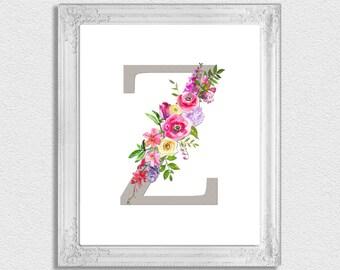 Letter Z Monogram, Floral Monogram, Nursery Monogram, Printable Monogram Letters, Initial Print, Letter Z, Nursery Letters, Alphabet Letters