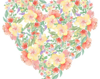 Heart Made Of Flowers Red Yellow Clipart Watercolor Floral Wall Art Love