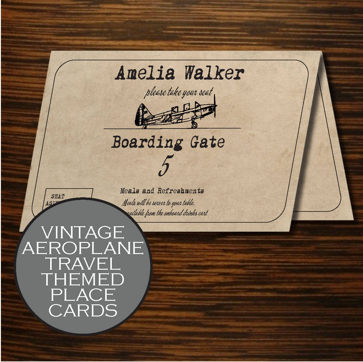 Travel Themed Wedding Travel Place Cards Vintage Aeroplane