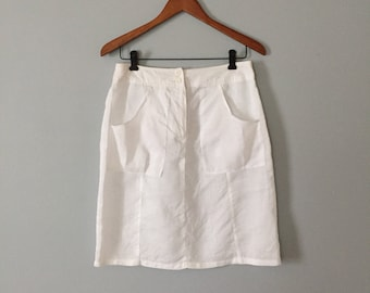 Allison Taylor linen skirt | semi sheer linen pocket skirt | chalk white skirt