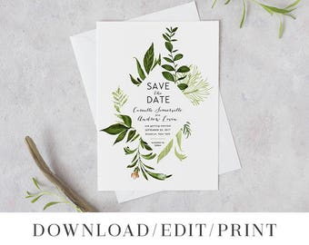 Wedding Save the Date Template, Printable Save the Dates, Instant Download Editable Digital STD, Botanical Woodland Greenery, Ivy Templett