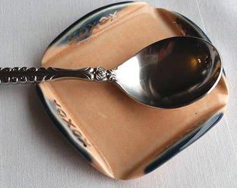 Ceramic Spoon Rest, Peach Spoon Rest, Small Trinket Dish