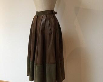 RESERVED Vintage 80s Claude Montana Khaki Lamb Skin Leather Skirt