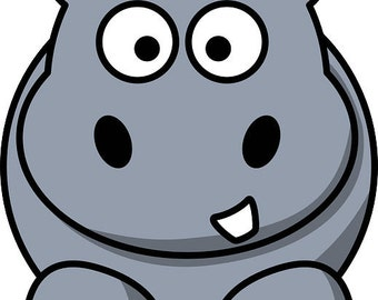 Hippo pattern, hippo cross stitch, cross stitch pattern, grey pattern, animal pattern, animal cross stitch,  PATTERN ONLY-instant download