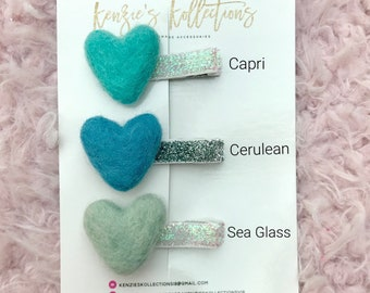 Shades of blue heart clips