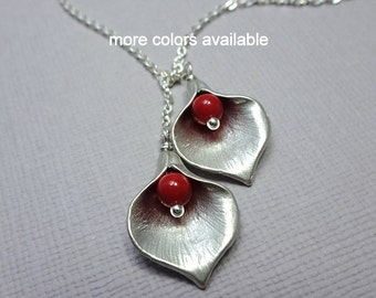 Calla Lilly Necklace, Calla Lilly and Red Coral Pearl Necklace, Bridesmaid Gift, Mother of the Bride Gift, Maid of Honor Gift