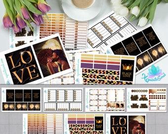 Black Love African American Weekly Planner Sticker Kit for Happy Planner/ Melanin Anniversary Sticker Set for HP