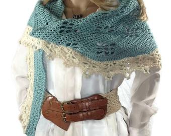 Outlander Claire Shawlette French Lace Blue Narrow Shaweltte Aqua Crescent Fraser  Diana Gabaldon FREE SHIPPING