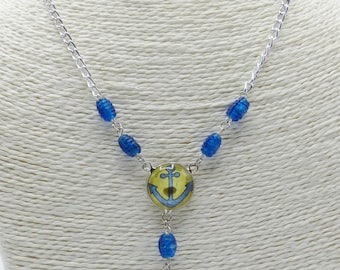 Blue anchor necklace in glass beads