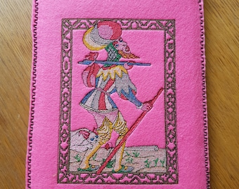 E-reader, Notebook, Ipad cover, The Fool Embroidery, 18,5 cm by 25 cm (7,3  by 9,8 inch)