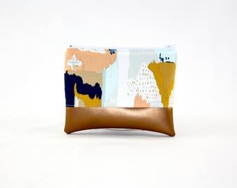MIDI bag - copper painting, bag, cosmetic bag, purse, make-up bag, vegan, minimalist, pouch, pencil case,