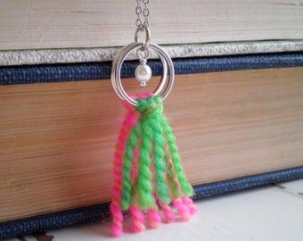 Boho Fiber Art Yarn Necklace - Pink & Green Wool Fringe + White Pearl Modern Bohemian Textile Art Pendant - Colorblock Tassel Jewelry Gift