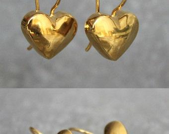 Gold heart earrings, gold dangle earrings, gold dainty earrings, romantic jewelry, valentines day gift.