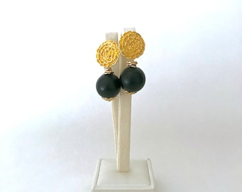 Black and gold earrings on a round and flower-shaped coin, matt black wooden beads, gifts for her, Valentine's Day gift, Lovers gift, wife