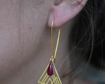 geometric triangles and drop earrings Burgundy