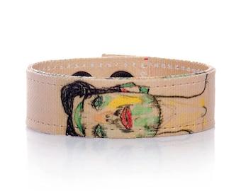 Egon Schiele Bracelet Handmade Canvas Art Mens Womens Wearable Art