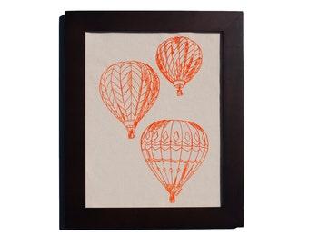 Hot Air Balloon Kitchen Wall Art - Cotton Canvas Print - Orange Screen Print - Unique Wedding Gift for Couple - Unique Housewarming Gift