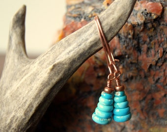 Turquoise Cairn Earrings - Sleeping Beauty Turquoise with Copper Findings