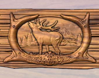 """Rustic Signs, Cabin Decor, Camper Sign, Custom Rustic Signs, Cabin Signs, Elk Antler Wall Decor, 14"""" x 7"""", MADE TO ORDER"""