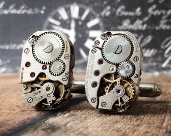 Silver Cufflinks, Watch Part Cufflinks, Steampunk Cufflinks, Steampunk Jewelry, Watch Movements, Silver Watch, Men's Jewelry, Cufflinks