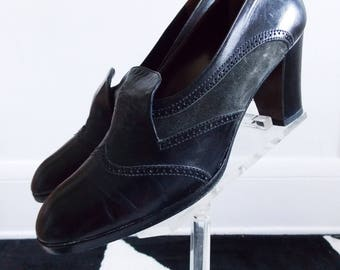 Italy 1960s mod black leather shoes / 60s heels Italo Colombo/ 60s gogo loafer Oxford shoes
