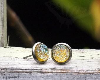 Lemon Rainbow Glitter Earrings, Faux Druzy Studs, Stainless Steel, 8mm