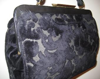 Pretty Blue Brocade Handbag - Vintage Classic!