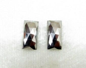 Pair (2 pcs) 16x8mm NATURAL SILVER PYRITE Rosecut Rectangular flat gemstone.....