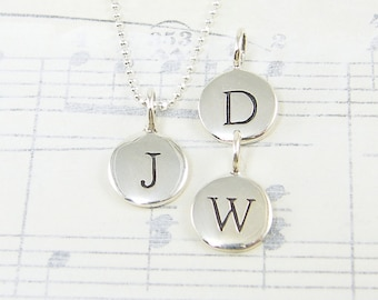 Personalized Initial Necklace Sterling Silver Initial Charm Necklace Gift for Her Girlfriend Wife Anniversary Gift