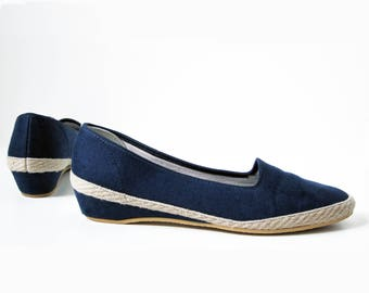 1970s vintage navy blue canvas hemp espadrille wedge skimmer flat slip on shoes 9
