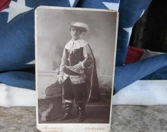 Antique Theatrical Cabinet Card Photo - Shakeaspearean Costume - Musketeer