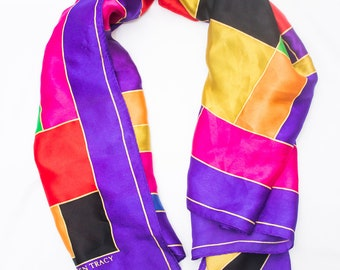 Colorful  Vintage Ellen Tracy Large Square Silk Scarf