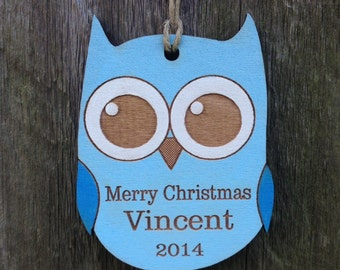 Personalized Owl Ornament/Woodland Christmas Ornament/Woodland Baby Gift or Shower/Baby Ornament/Personalized Gift for Boy/Blue