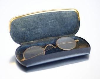 Vintage 1920s Goldfill-Frame Eyeglasses in Blue Leather Case