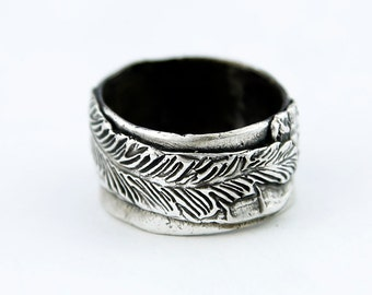 Chunky and Funky Textured Sterling Silver Wide Band Ring