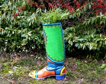 Colorfully painted old leather boot for decoration