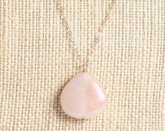 Long Rose gold necklace, Pink aventurine pendant necklace, semiprecious, rosegold