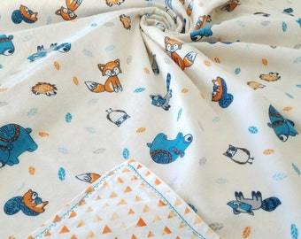 Reversible Cartoon Animal Baby Blanket- Fox, Raccoon, Hedgehog, Owl, Bear, Squirrel