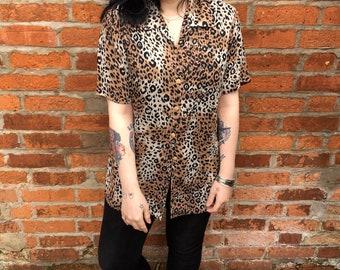 Vintage 90s Leopard Print Sheer Blouse