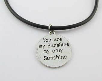 You are My Sunshine Charm Pendant  Necklace Black Cord  (C1827/NFS016)